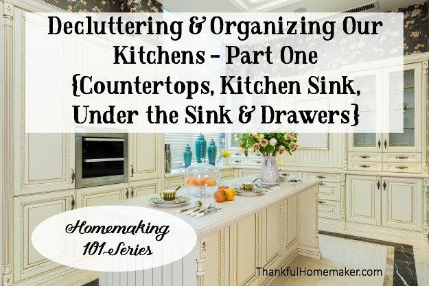 We are starting small and in today's post are tackling countertops, kitchen sink, under the kitchen sink, and your kitchen drawers. @mferrell
