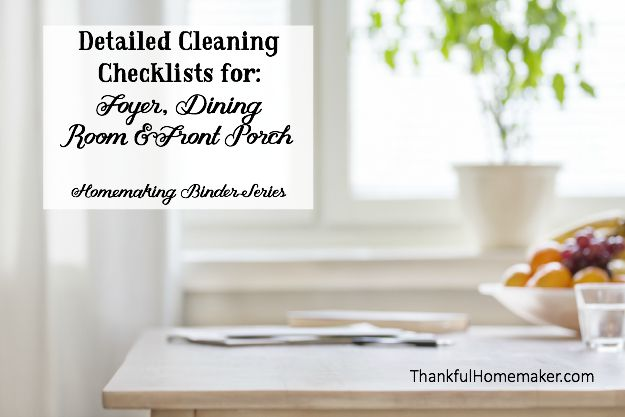 Detailed Cleaning Checklist For Foyer Dining Room Front Porch